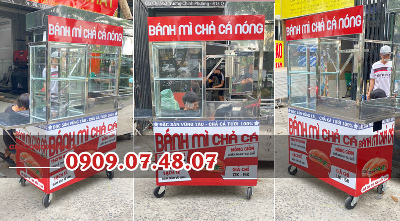 Bán xe bánh mì chả cá giá rẻ 1m