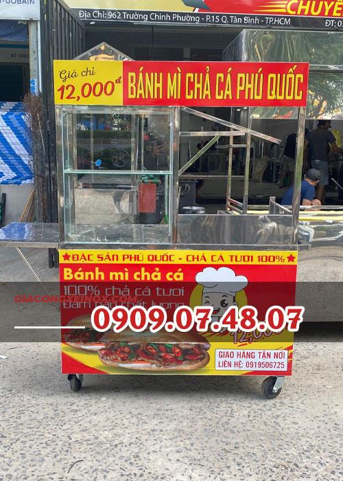 Mua xe bán bánh mì chả cá cũ 1m2