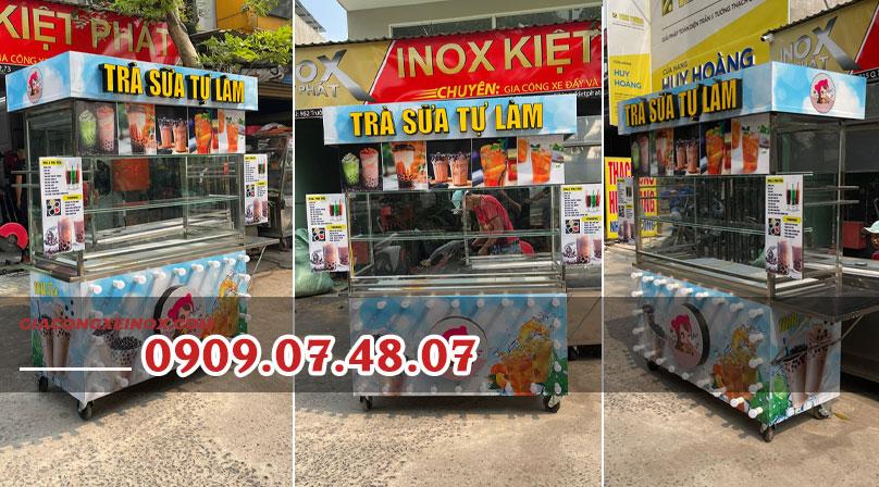 Mẫu xe trà sữa đẹp với menu trà sữa và giá bán